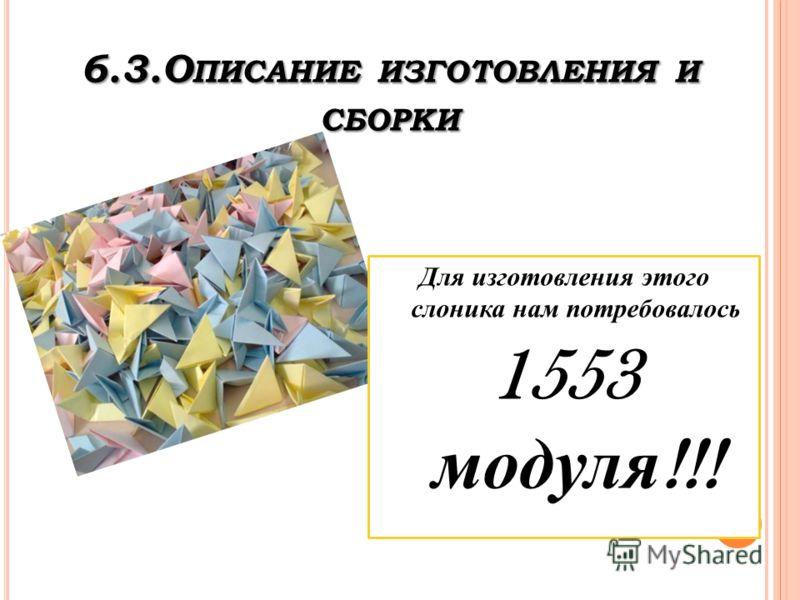 6.3.О ПИСАНИЕ ИЗГОТОВЛЕНИЯ И СБОРКИ Для изготовления этого слоника нам потребовалось 1553 модуля !!!