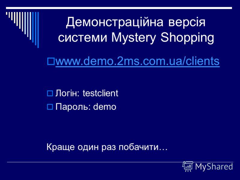 Демонстраційна версія системи Mystery Shopping www.demo.2ms.com.ua/clients Логін: testclient Пароль: demo Краще один раз побачити…