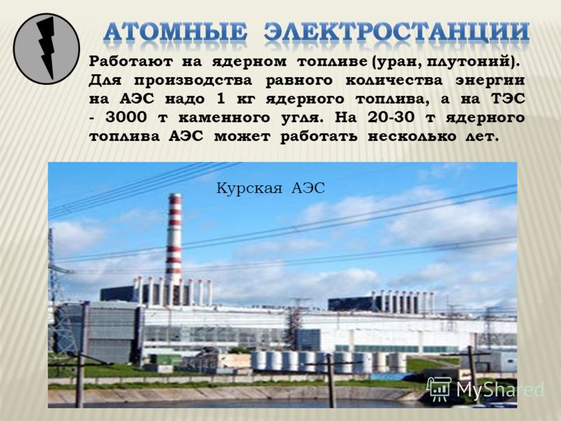 Курская АЭС Работают на ядерном топливе (уран, плутоний). Для производства равного количества энергии на АЭС надо 1 кг ядерного топлива, а на ТЭС - 3000 т каменного угля. На 20-30 т ядерного топлива АЭС может работать несколько лет.