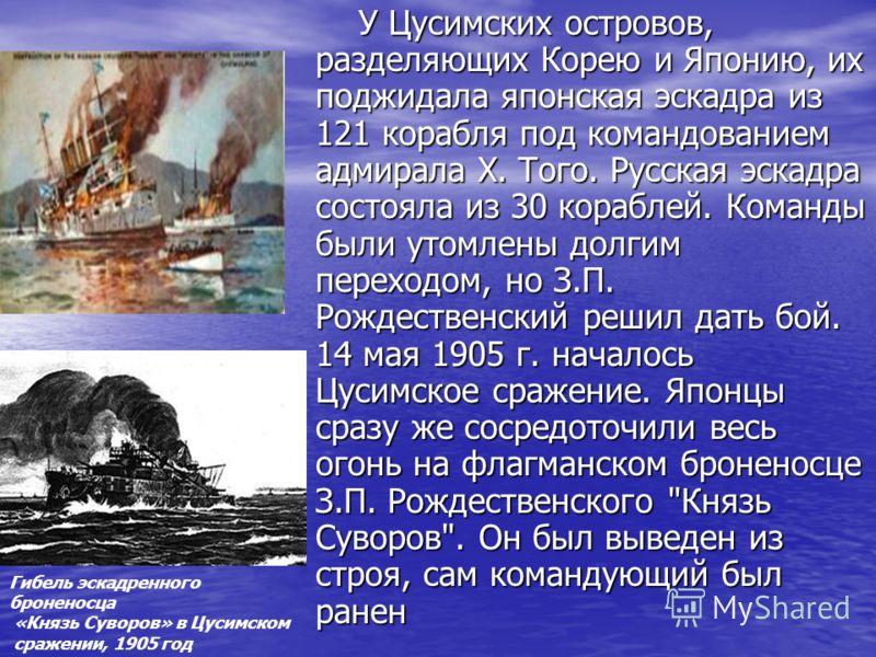 У Цусимских островов, разделяющих Корею и Японию, их поджидала японская эскадра из 121 корабля под командованием адмирала Х. Того. Русская эскадра состояла из 30 кораблей. Команды были утомлены долгим переходом, но З.П. Рождественский решил дать бой.