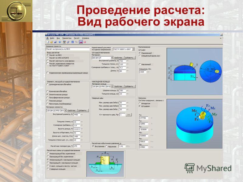 Проведение расчета: Вид рабочего экрана