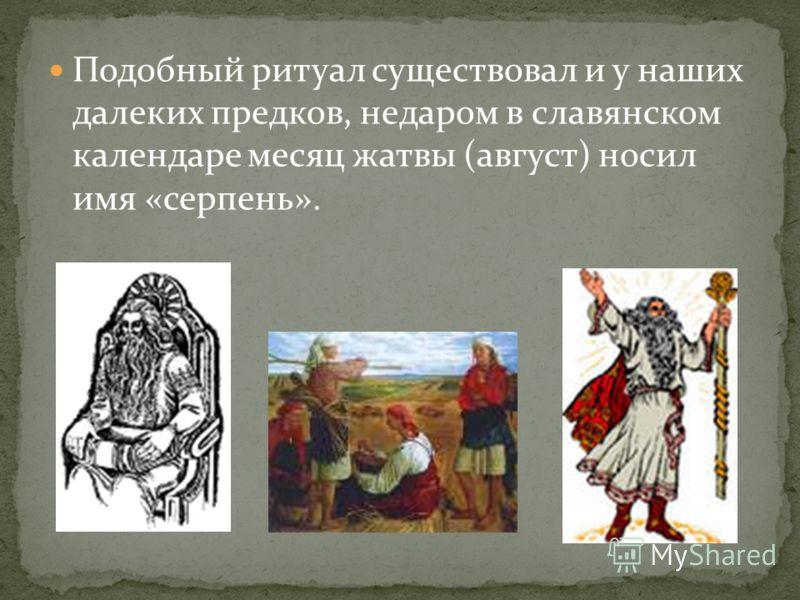 Подобный ритуал существовал и у наших далеких предков, недаром в славянском календаре месяц жатвы (август) носил имя «серпень».