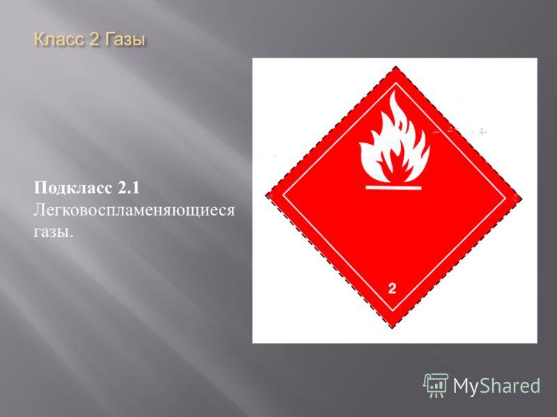 Класс 2 Газы Подкласс 2.1 Легковоспламеняющиеся газы.