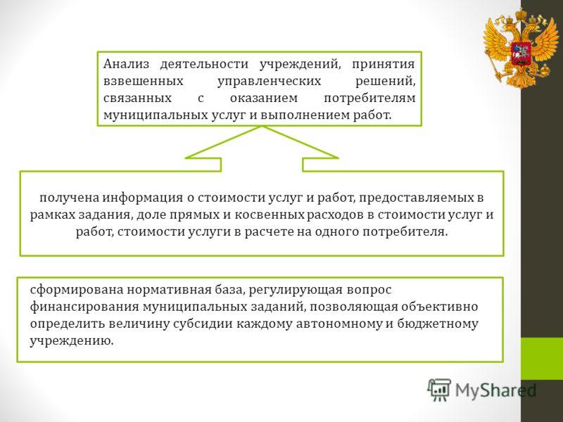 сформирована нормативная база, регулирующая вопрос финансирования муниципальных заданий, позволяющая объективно определить величину субсидии каждому автономному и бюджетному учреждению. получена информация о стоимости услуг и работ, предоставляемых в