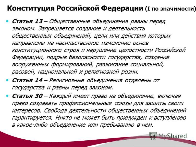 Конституция Российской Федерации (I по значимости) Статья 13 – Общественные объединения равны перед законом. Запрещается создание и деятельность общественных объединений, цели или действия которых направлены на насильственное изменение основ конститу