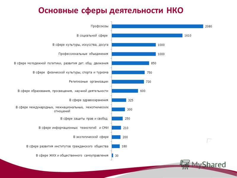 Основные сферы деятельности НКО