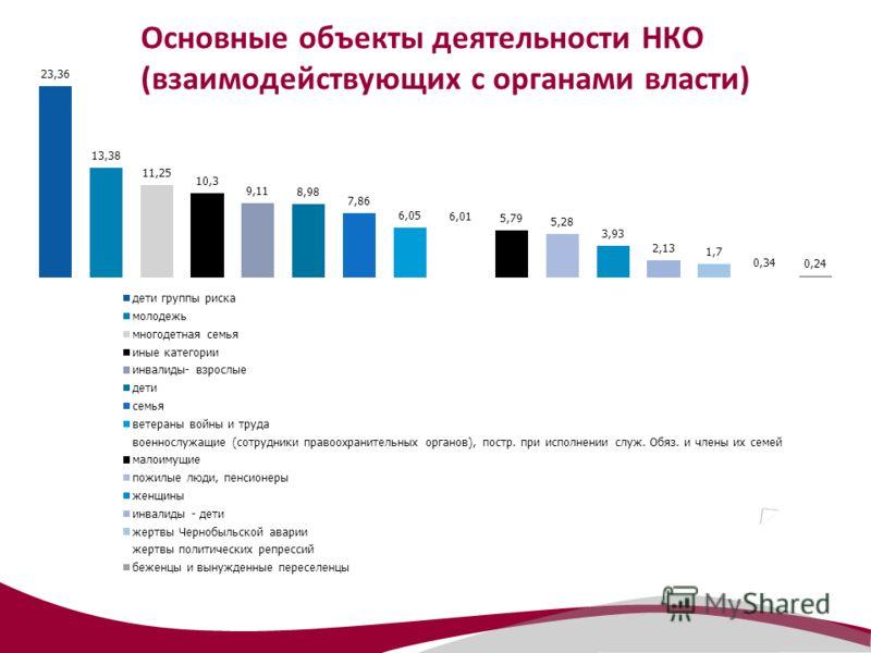 Основные объекты деятельности НКО (взаимодействующих с органами власти)