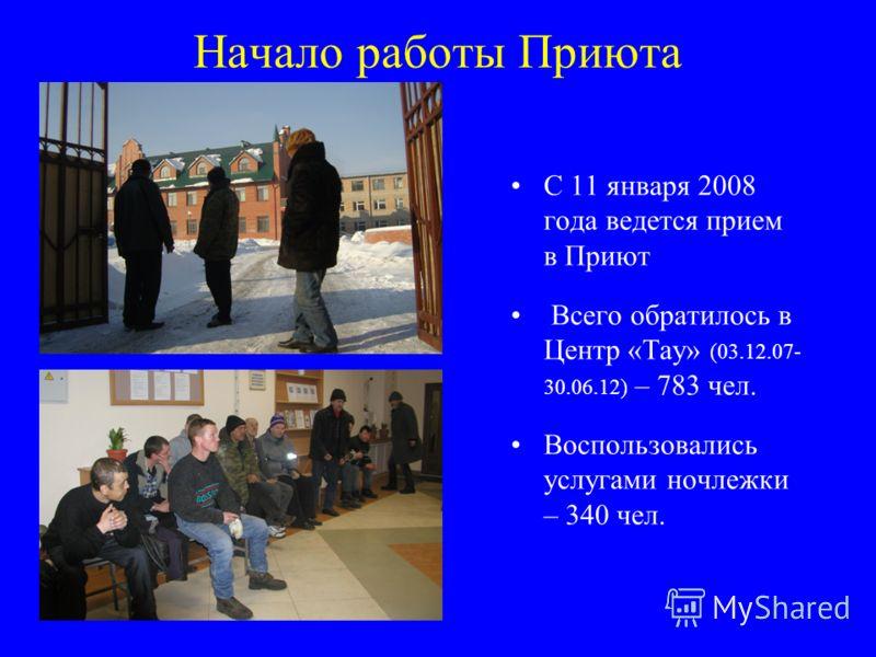 Начало работы Приюта С 11 января 2008 года ведется прием в Приют Всего обратилось в Центр «Тау» (03.12.07- 30.06.12) – 783 чел. Воспользовались услугами ночлежки – 340 чел.