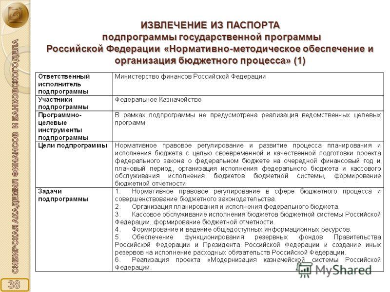 ИЗВЛЕЧЕНИЕ ИЗ ПАСПОРТА подпрограммы государственной программы Российской Федерации «Нормативно-методическое обеспечение и организация бюджетного процесса» (1)