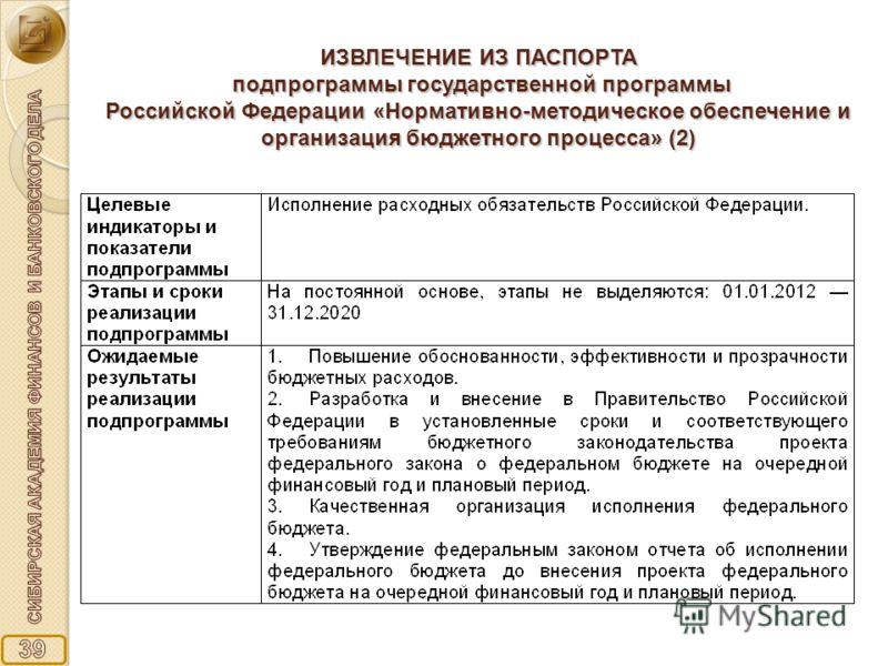 ИЗВЛЕЧЕНИЕ ИЗ ПАСПОРТА подпрограммы государственной программы Российской Федерации «Нормативно-методическое обеспечение и организация бюджетного процесса» (2)