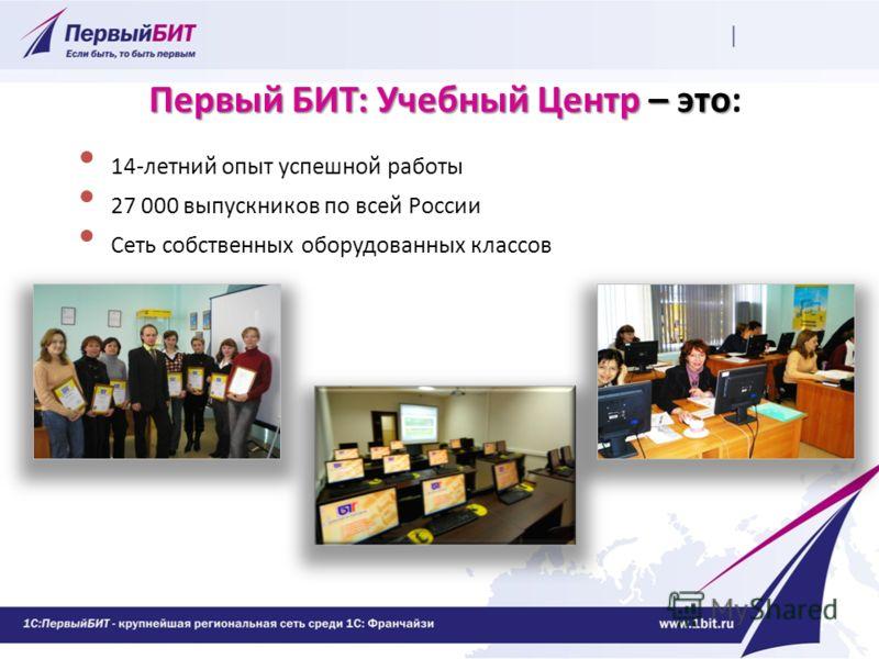 Первый БИТ: Учебный Центр – это Первый БИТ: Учебный Центр – это: 14-летний опыт успешной работы 27 000 выпускников по всей России Сеть собственных оборудованных классов