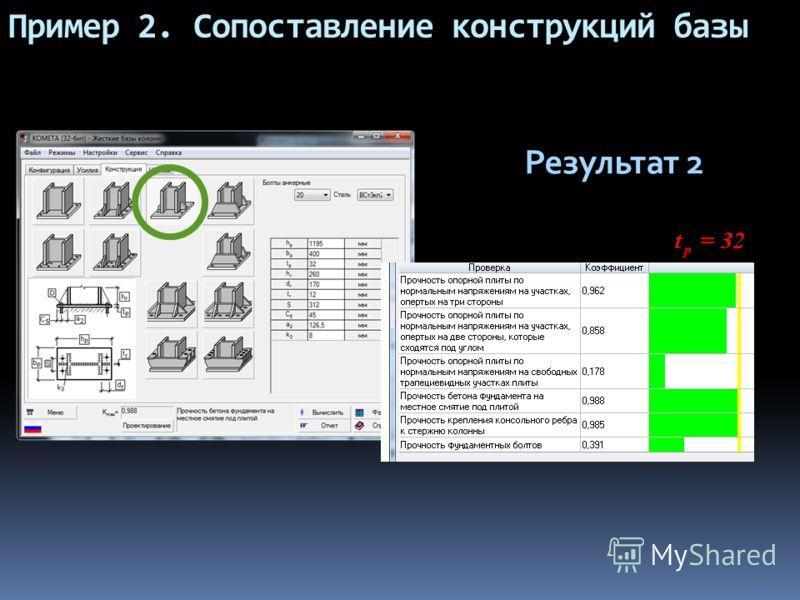 Пример 2. Сопоставление конструкций базы Результат 2