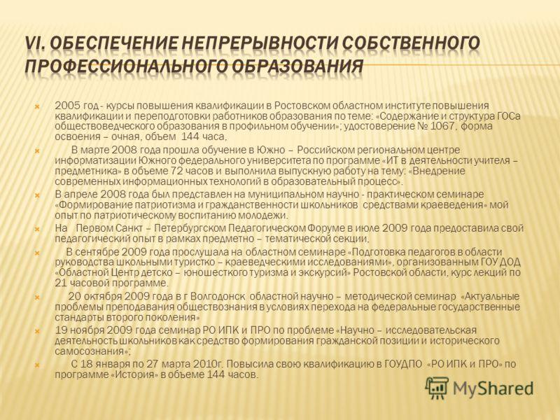 2005 год - курсы повышения квалификации в Ростовском областном институте повышения квалификации и переподготовки работников образования по теме: «Содержание и структура ГОСа обществоведческого образования в профильном обучении»; удостоверение 1067, ф