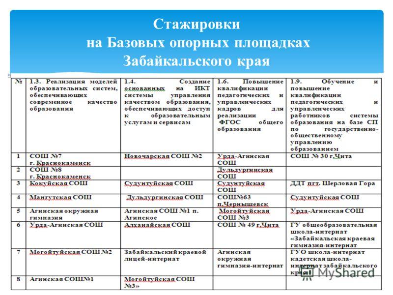 Стажировки на Базовых опорных площадках Забайкальского края