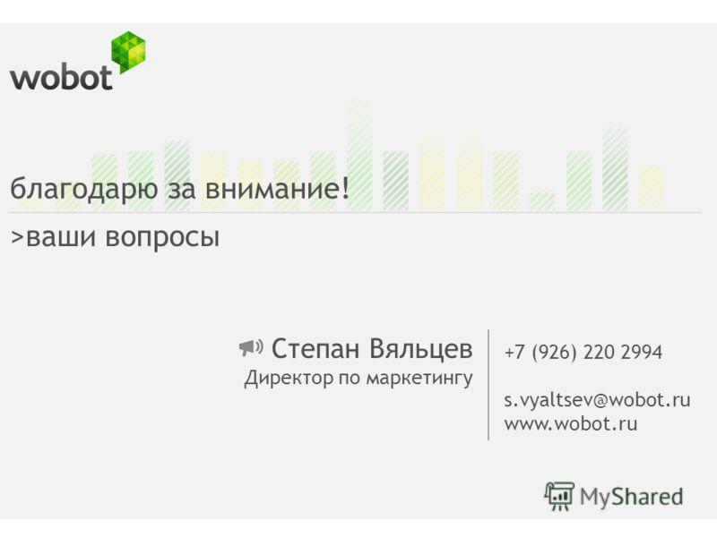 Степан Вяльцев Директор по маркетингу +7 (926) 220 2994 s.vyaltsev@wobot.ru www.wobot.ru благодарю за внимание! >ваши вопросы