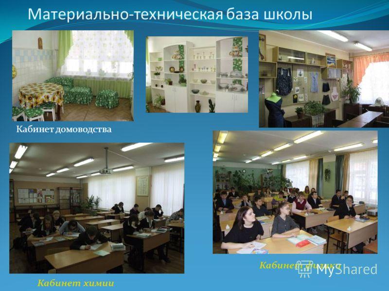 Материально-техническая база школы Кабинет домоводства Кабинет химии Кабинет физики