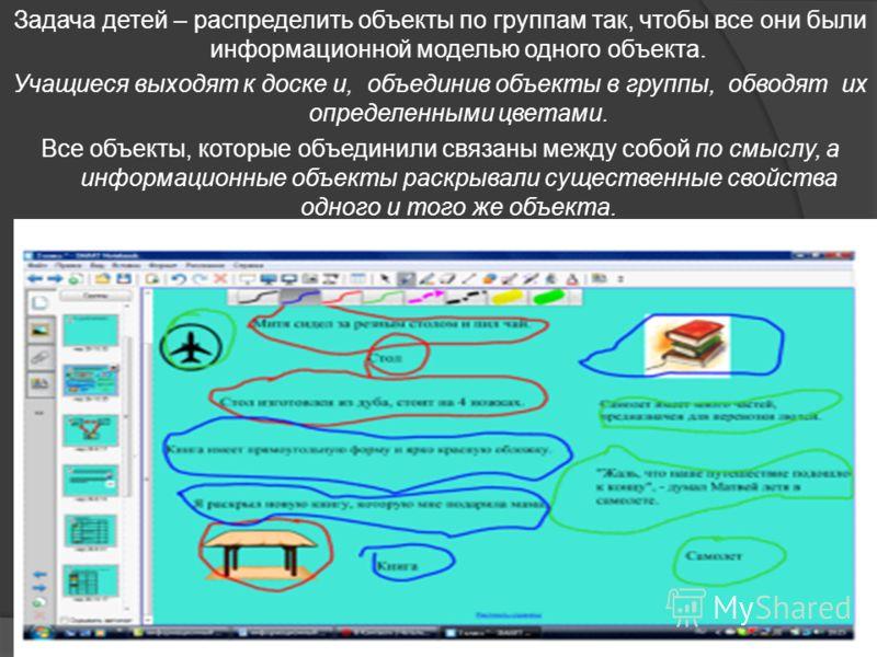 Задача детей – распределить объекты по группам так, чтобы все они были информационной моделью одного объекта. Учащиеся выходят к доске и, объединив объекты в группы, обводят их определенными цветами. Все объекты, которые объединили связаны между собо