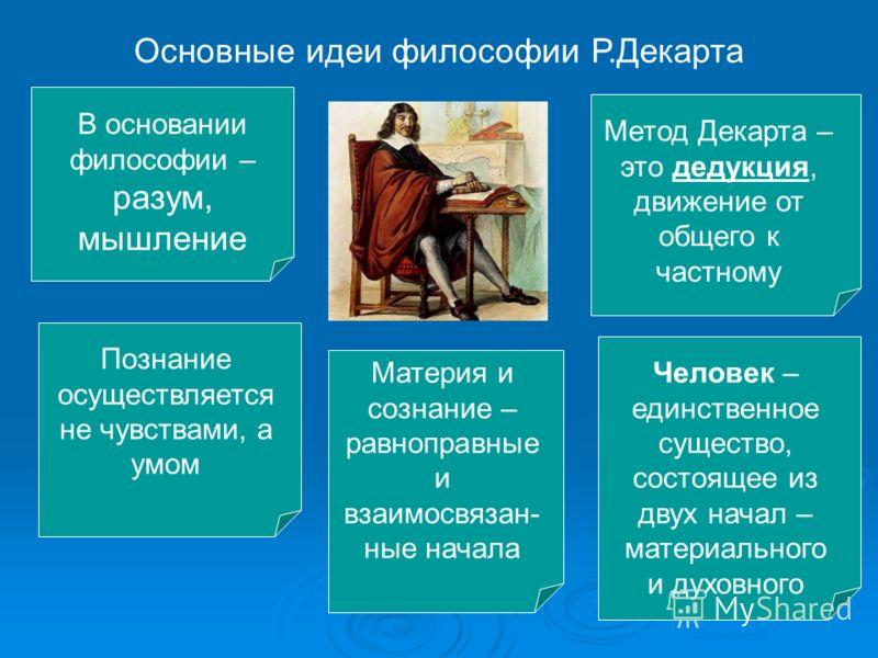 Основные идеи философии Р.Декарта В основании философии – разум, мышление Познание осуществляется не чувствами, а умом Метод Декарта – это дедукция, движение от общего к частному Материя и сознание – равноправные и взаимосвязан- ные начала Человек –
