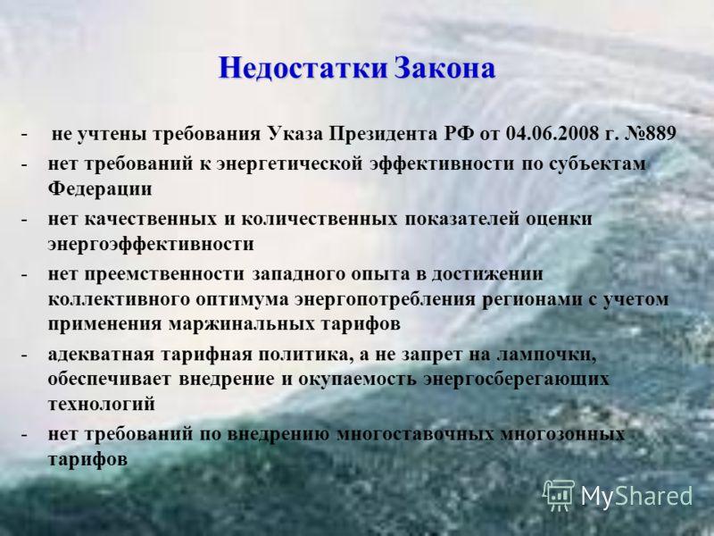 Недостатки Закона - не учтены требования Указа Президента РФ от 04.06.2008 г. 889 -нет требований к энергетической эффективности по субъектам Федерации -нет качественных и количественных показателей оценки энергоэффективности -нет преемственности зап