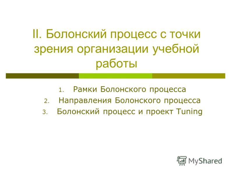 II. Болонский процесс с точки зрения организации учебной работы 1. Рамки Болонского процесса 2. Направления Болонского процесса 3. Болонский процесс и проект Tuning