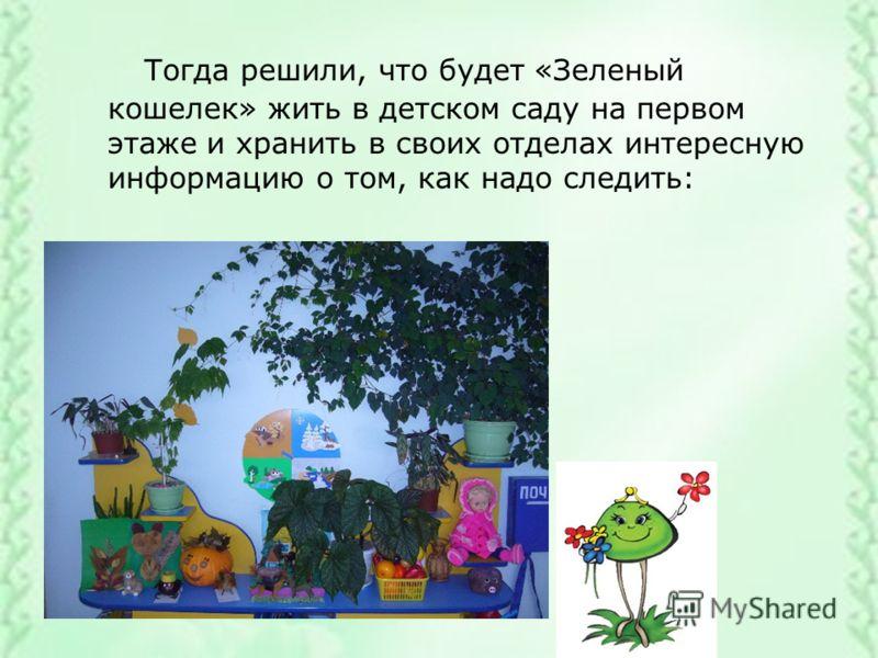 Тогда решили, что будет «Зеленый кошелек» жить в детском саду на первом этаже и хранить в своих отделах интересную информацию о том, как надо следить:
