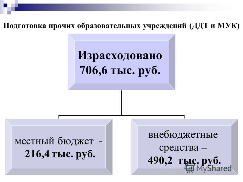 Подготовка прочих образовательных учреждений (ДДТ и МУК) Израсходовано 706,6 тыс. руб. местный бюджет - 216,4 тыс. руб. внебюджетные средства – 490,2 тыс. руб.