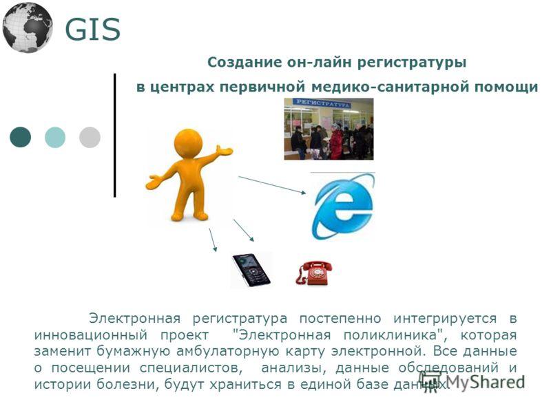 GIS Создание он-лайн регистратуры в центрах первичной медико-санитарной помощи Электронная регистратура постепенно интегрируется в инновационный проект