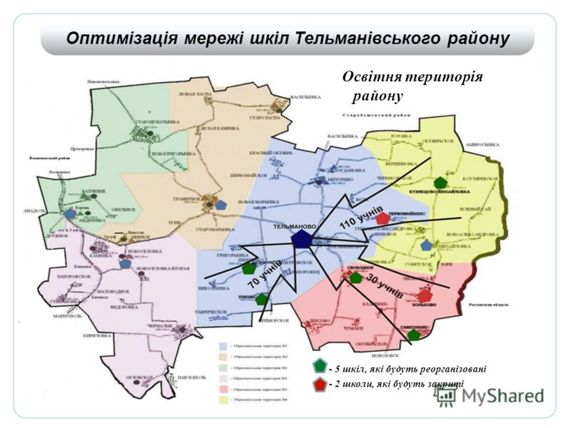 - 5 шкіл, які будуть реорганізовані - 2 школи, які будуть закриті Освітня територія району Оптимізація мережі шкіл Тельманівського району