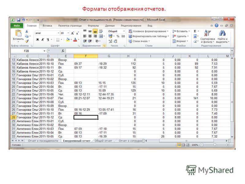 Форматы отображения отчетов.