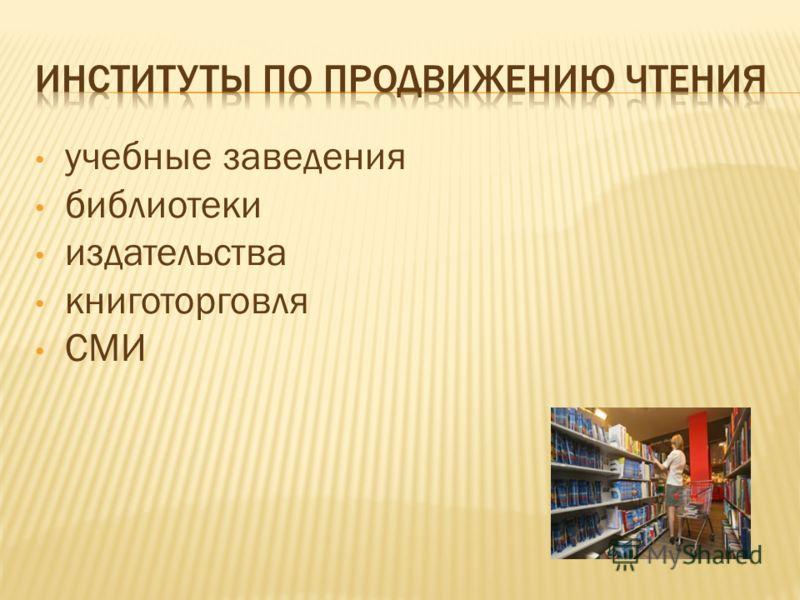учебные заведения библиотеки издательства книготорговля СМИ
