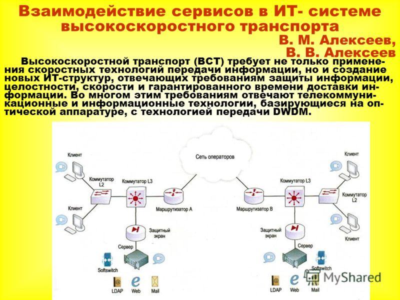 Взаимодействие сервисов в ИТ- системе высокоскоростного транспорта В. М. Алексеев, В. В. Алексеев Высокоскоростной транспорт (ВСТ) требует не только примене- ния скоростных технологий передачи информации, но и создание новых ИТ-структур, отвечающих т
