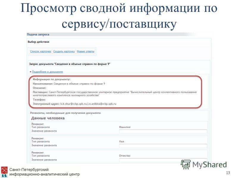 Просмотр сводной информации по сервису/поставщику 13