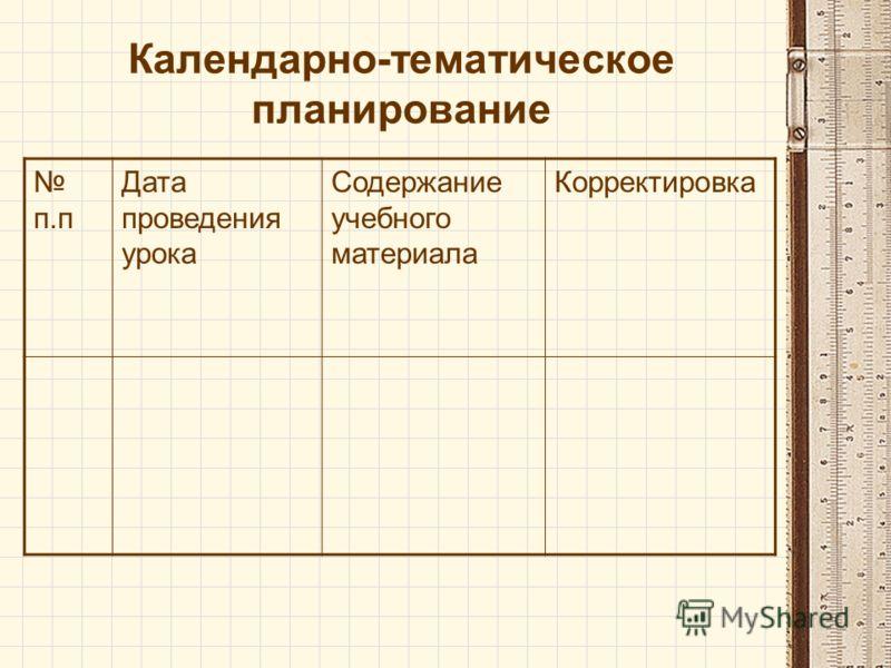Календарно-тематическое планирование п.п Дата проведения урока Содержание учебного материала Корректировка