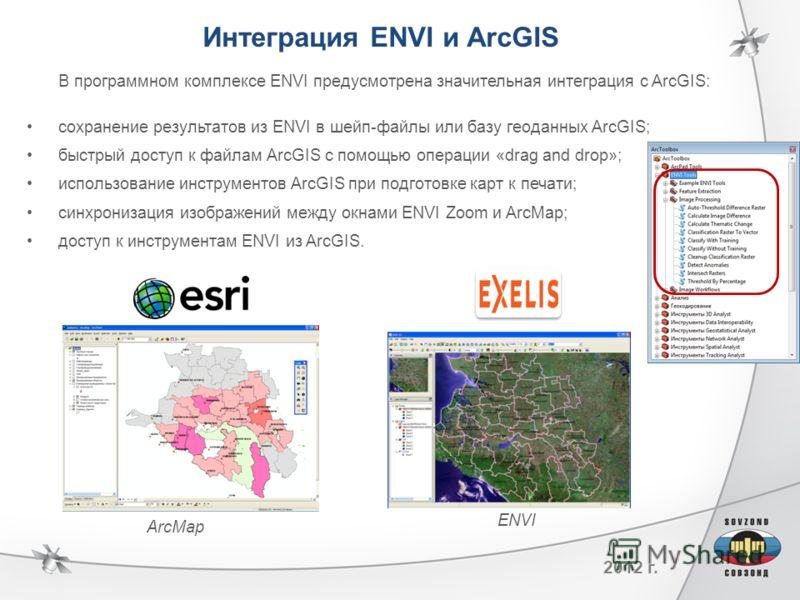2012 г. Интеграция ENVI и ArcGIS В программном комплексе ENVI предусмотрена значительная интеграция с ArcGIS: сохранение результатов из ENVI в шейп-файлы или базу геоданных ArcGIS; быстрый доступ к файлам ArcGIS с помощью операции «drag and drop»; ис