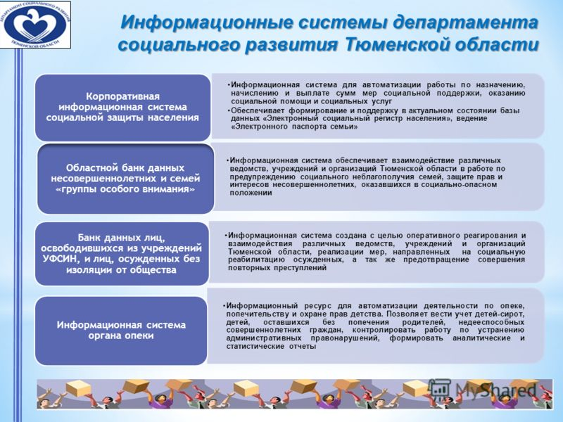 Информационные системы департамента социального развития Тюменской области Информационная система обеспечивает взаимодействие различных ведомств, учреждений и организаций Тюменской области в работе по предупреждению социального неблагополучия семей,