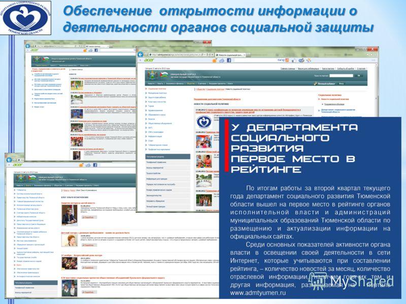 Обеспечение открытости информации о деятельности органов социальной защиты населения