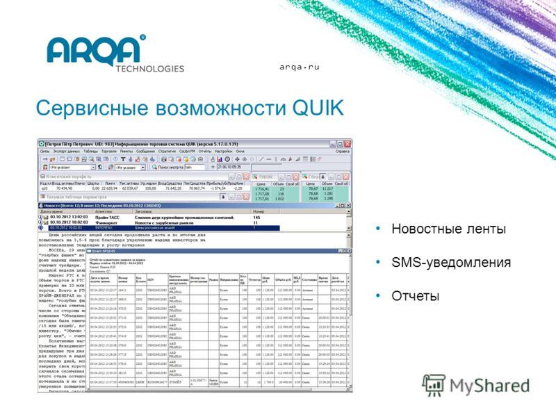 arqa.ru Сервисные возможности QUIK Новостные ленты SMS-уведомления Отчеты