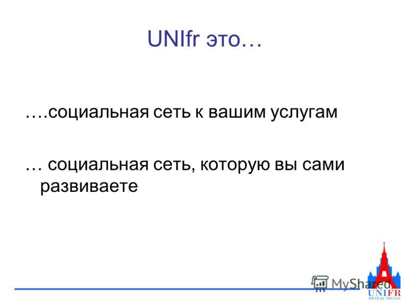 UNIfr это… ….социальная сеть к вашим услугам … социальная сеть, которую вы сами развиваете
