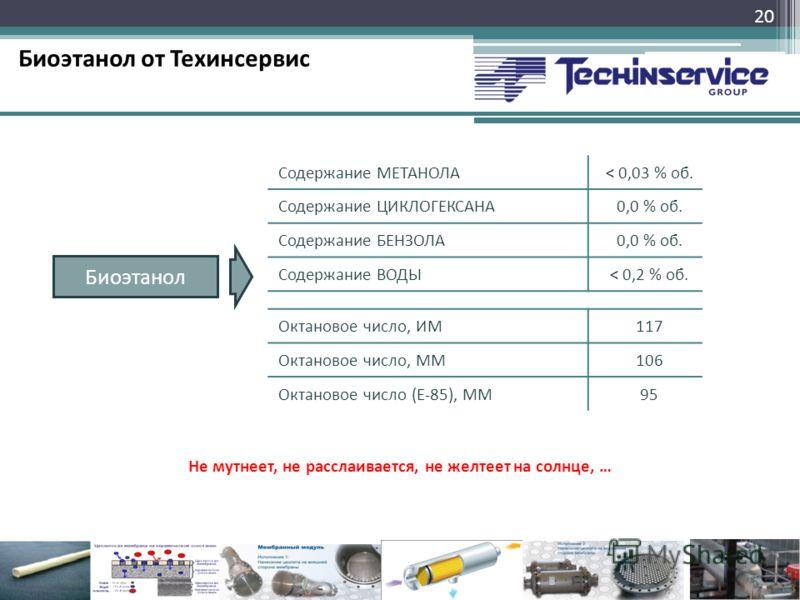 Биоэтанол от Техинсервис 20 Биоэтанол Содержание МЕТАНОЛА< 0,03 % об. Содержание ЦИКЛОГЕКСАНА0,0 % об. Содержание БЕНЗОЛА0,0 % об. Содержание ВОДЫ< 0,2 % об. Октановое число, ИМ117 Октановое число, ММ106 Октановое число (Е-85), ММ95 Не мутнеет, не ра