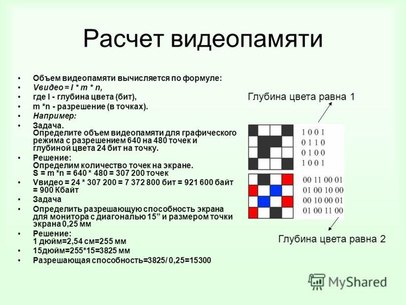 Расчет видеопамяти Объем видеопамяти вычисляется по формуле: Vвидео = I * m * n, где I - глубина цвета (бит), m *n - разрешение (в точках). Например: Задача. Определите объем видеопамяти для графического режима с разрешением 640 на 480 точек и глубин