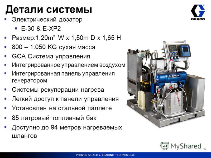 17 Детали системы Электрический дозатор E-30 & E-XP2 Размер:1,20m W x 1,50m D x 1,65 H 800 – 1.050 KG сухая масса GCA Система управления Интегрированное управлением воздухом Интегрированная панель управления генератором Системы рекуперации нагрева Ле