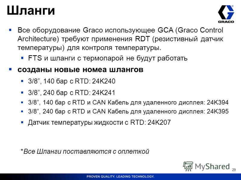 29 Все оборудование Graco использующее GCA (Graco Control Architecture) требуют применения RDT (резистивный датчик температуры) для контроля температуры. FTS и шланги с термопарой не будут работать созданы новые номеа шлангов 3/8, 140 бар с RTD: 24K2