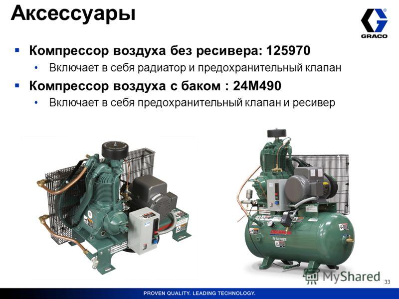 33 Компрессор воздуха без ресивера: 125970 Включает в себя радиатор и предохранительный клапан Компрессор воздуха с баком : 24M490 Включает в себя предохранительный клапан и ресивер Аксессуары