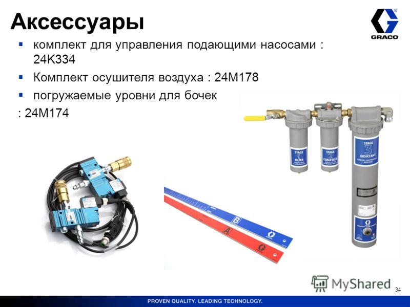 34 комплект для управления подающими насосами : 24K334 Комплект осушителя воздуха : 24M178 погружаемые уровни для бочек : 24M174 Аксессуары