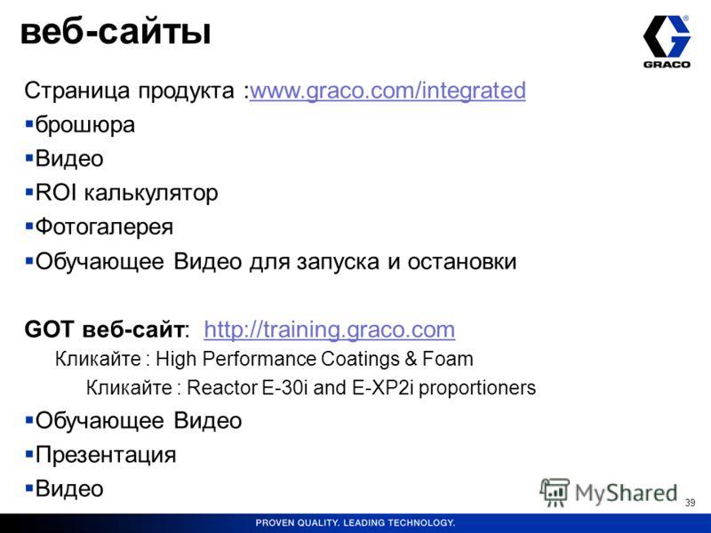 39 Страница продукта :www.graco.com/integrated брошюра Видео ROI калькулятор Фотогалерея Обучающее Видео для запуска и остановки GOT веб-сайт: http://training.graco.com Кликайте : High Performance Coatings & Foam Кликайте : Reactor E-30i and E-XP2i p