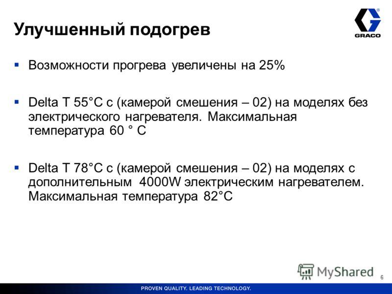 Улучшенный подогрев Возможности прогрева увеличены на 25% Delta T 55°C с (камерой смешения – 02) на моделях без электрического нагревателя. Максимальная температура 60 ° C Delta T 78°C с (камерой смешения – 02) на моделях с дополнительным 4000W элект