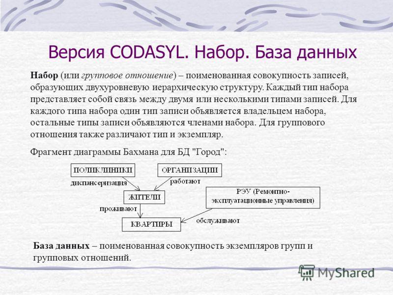 Версия CODASYL. Набор. База данных Набор (или групповое отношение) – поименованная совокупность записей, образующих двухуровневую иерархическую структуру. Каждый тип набора представляет собой связь между двумя или несколькими типами записей. Для кажд