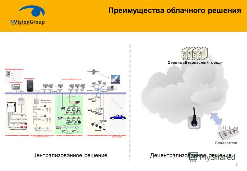 7 Преимущества облачного решения Централизованное решениеДецентрализованное решение Пользователи Сервис «Безопасный город»