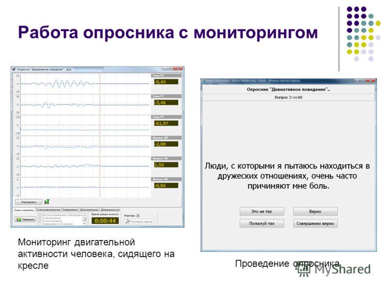 Работа опросника с мониторингом Мониторинг двигательной активности человека, сидящего на кресле Проведение опросника