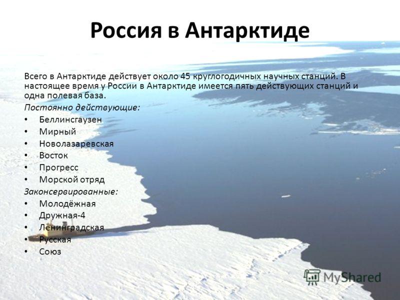 Россия в Антарктиде Всего в Антарктиде действует около 45 круглогодичных научных станций. В настоящее время у России в Антарктиде имеется пять действующих станций и одна полевая база. Постоянно действующие: Беллинсгаузен Мирный Новолазаревская Восток
